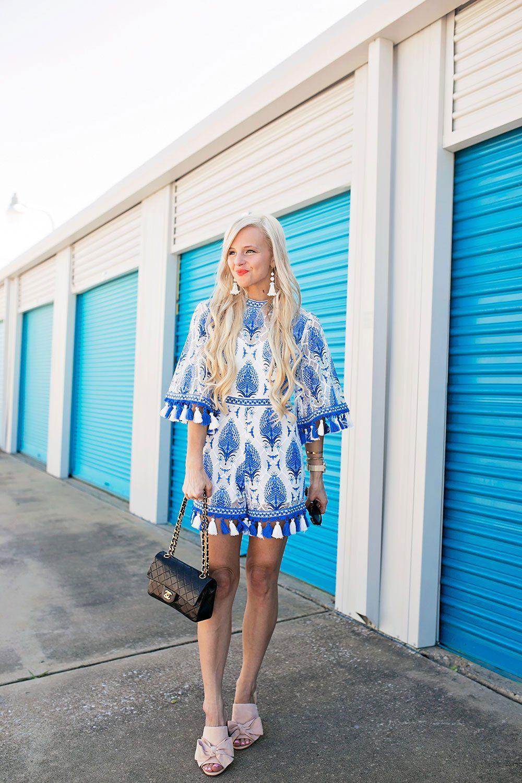 Blue Tassel Romper | Tassels, Bald hairstyles and Summer