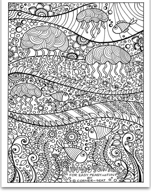 Jellyfish Coloring Page | Dibujos | Pinterest | Mandalas, Juegos de ...