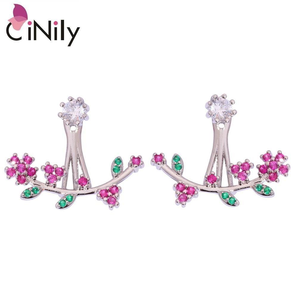 Cinily white zircon kunzite green quartz silver plated earrings