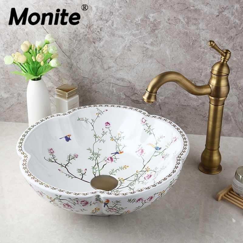 Monite Art Ceramic Basin Spring Blossoms Design Washbasin Bathroom Sink Set Antique Brass Water Mixer Tap Faucet W Pop Up Drain Aliexpress In 2020 Wash Basin Faucet Style Blossom Design