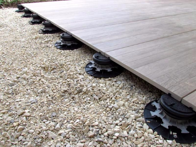 Plot dalle réglable autonivelant en pvc 55   75 mm pour terrasse - terrasse bois sur plots reglables