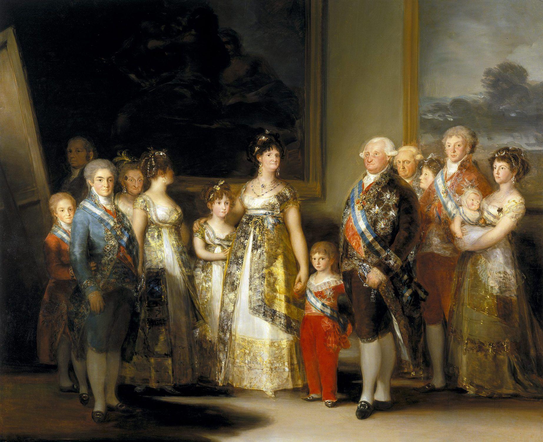 Retrato de la familia real de Carlos IV de Espana por Francisco de Goya.