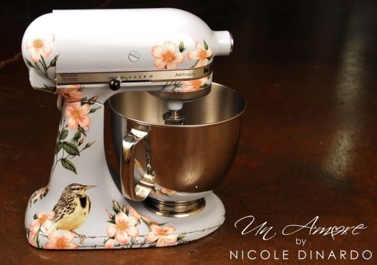 Meadowlark And Floral Hand Painted Kitchenaid Mixer By