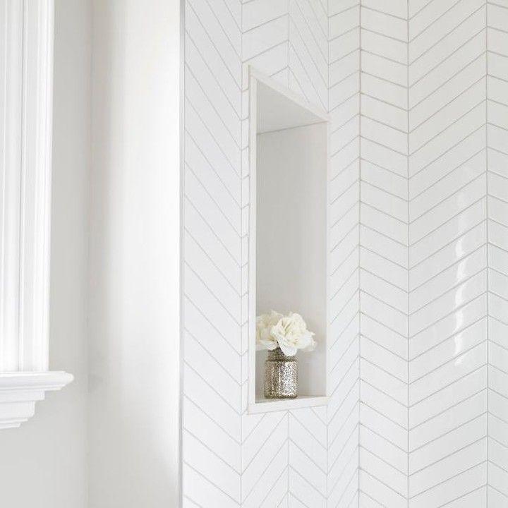 White Chevron Tile With Arctic White Grout Creates A Super
