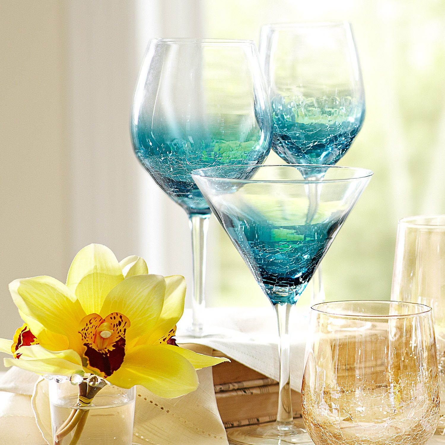 Crackle Teal Stemware | Things I Want and Love | Pinterest | Drinkware