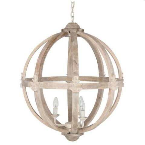 Large Round Wooden Orb Chandelier
