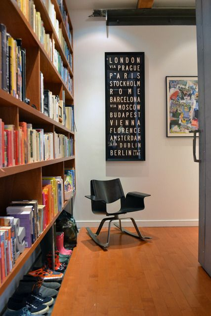 Entry with books and bus blind (Alexandra & John House Tour via ...