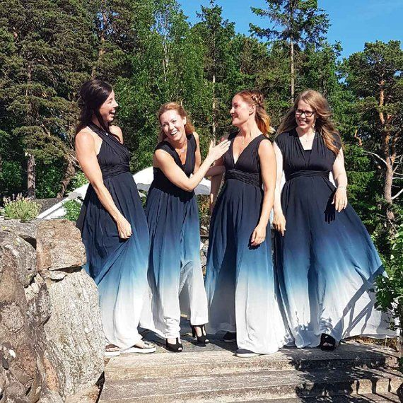 485689bc59 THEDAINTYARD Bridesmaid Maxi infinity dress   Multiway Dress   convertible  wrap dress WITH Blue ombr
