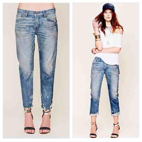 NSF Distressed Boyfriend Jeans Harlan finish...Distressed and oil stained, 5 pocket Boyfriend jeans. Button fly closure. Perfectly whisker washed, with oil stained detailing in all the right places. Sturdy denim with a soft, worn in feel. NSF Jeans Boyfriend