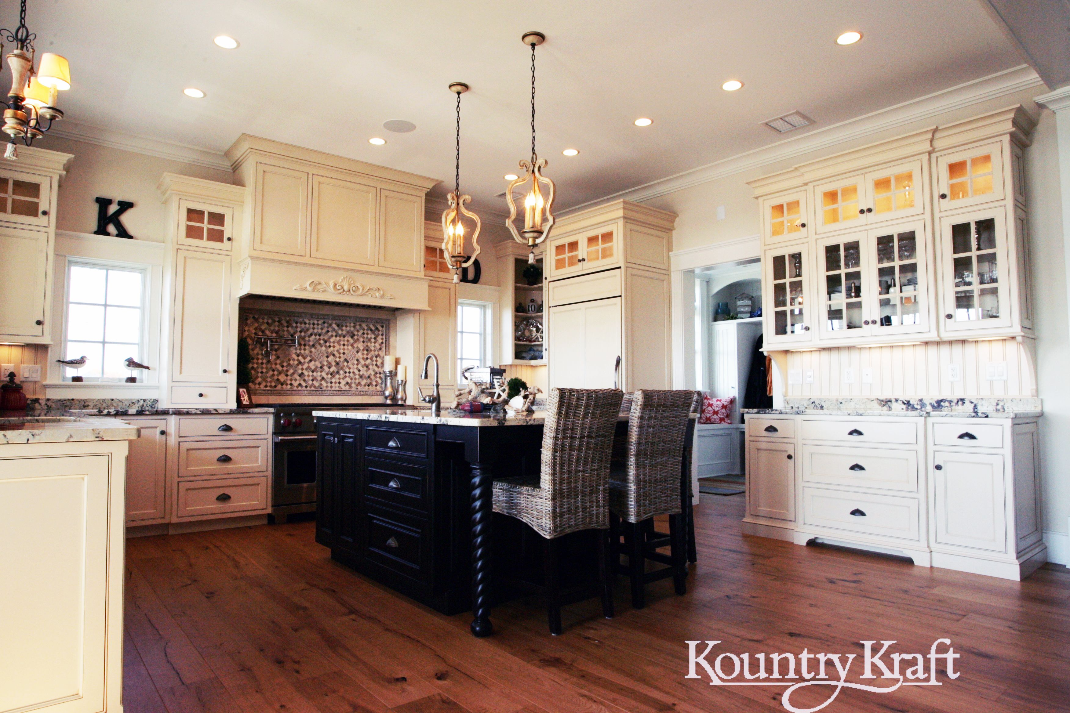 Custom Kitchen Cabinets Designed By Hanford Cabinet Woodworking In Old Saybrook Ct This Tradi Custom Kitchen Island Custom Kitchen Cabinets Shaker Cabinets