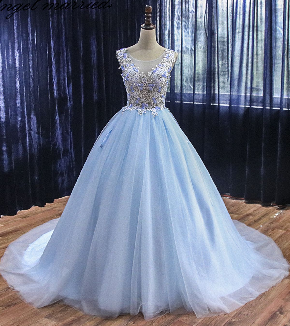 Light Sky Blue Tulle Custom Made Long Sweet 16 Prom Dress Quinceanera Dress Dresses Quinceanera Dresses Recital Dress [ 1350 x 1200 Pixel ]