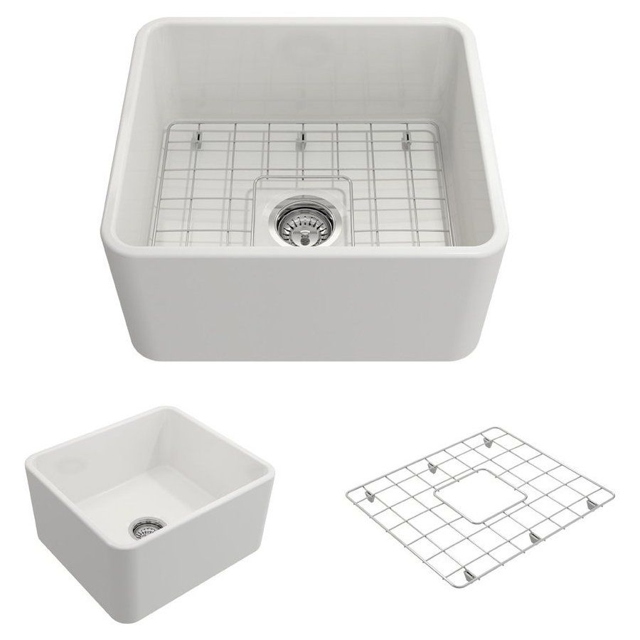 Bocchi 20 Inch Classico Farmhouse Apron Fireclay Single Bowl Kitchen Sink With Bottom Grid And Strainer White 1136 001 0120 Single Bowl Kitchen Sink Sink Apron Sink Kitchen