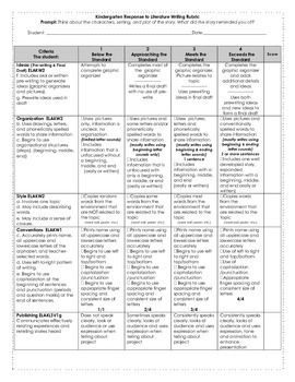 Kindergarten Writing Rubric Response To Literature  Rubrics