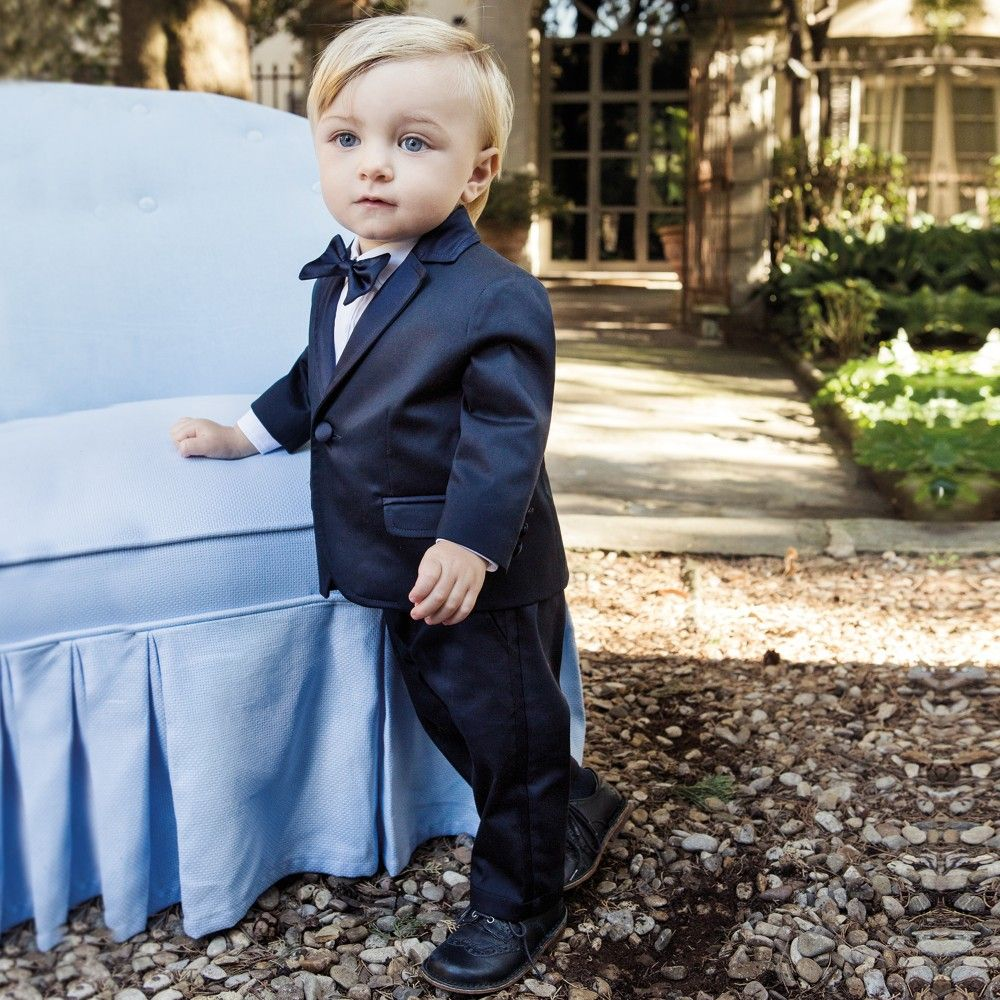 Aletta - Boys Navy Blue 5 Piece Tuxedo Suit | Childrensalon ...