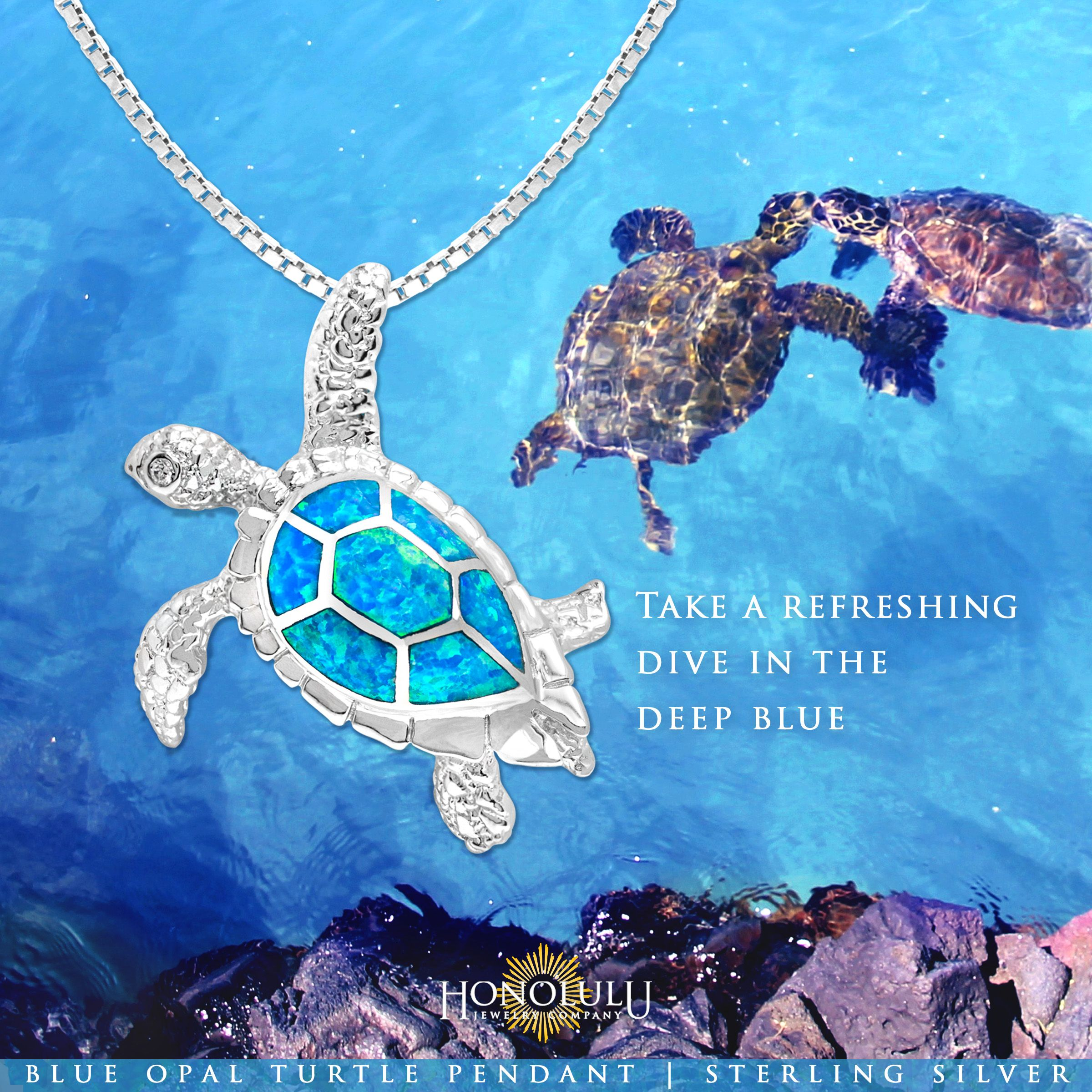 Large sterling silver sea turtle pendant with blue opal inlay large sterling silver sea turtle pendant with blue opal inlay shell contains sparkling cubic zirconia aloadofball Image collections