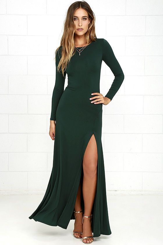 d592dbb1bb Feel like you're walking on air in the Swept Away Forest Green Long Sleeve  Maxi Dress! Super soft and stretchy jersey knit shapes a rounded neckline,  ...