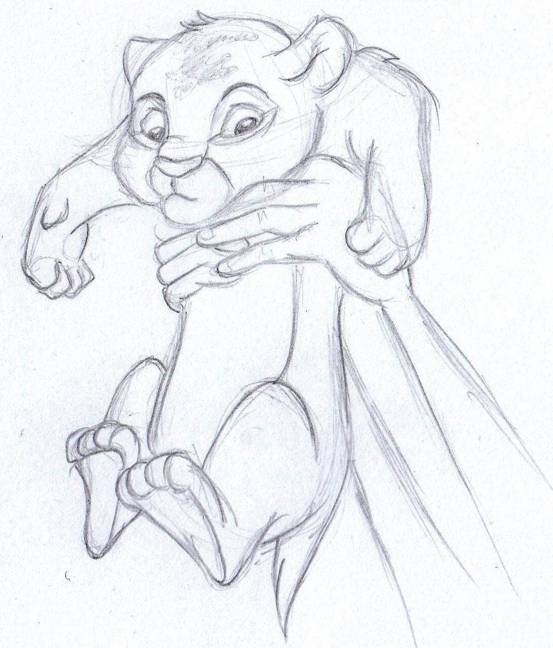 Disney sketch baby simba the lion king