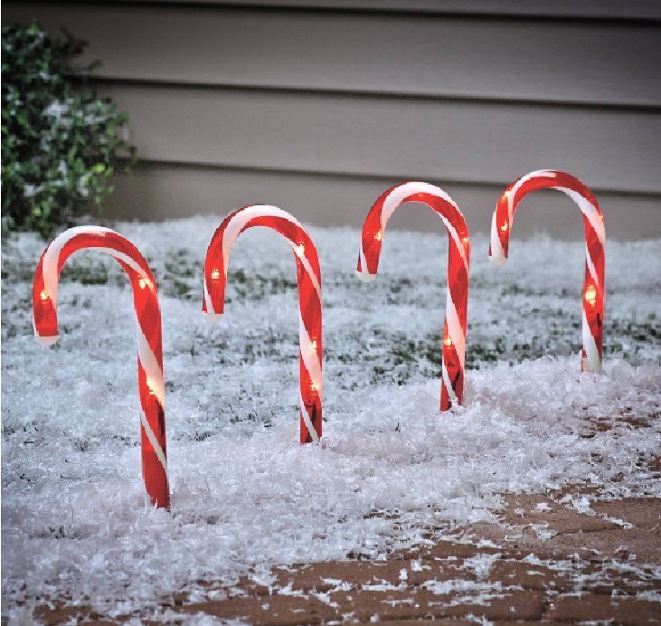 Us 19 99 Free Shipping Solar Ed Candy Canes Outdoor Pathway Lighting Yard Decorations Christmas