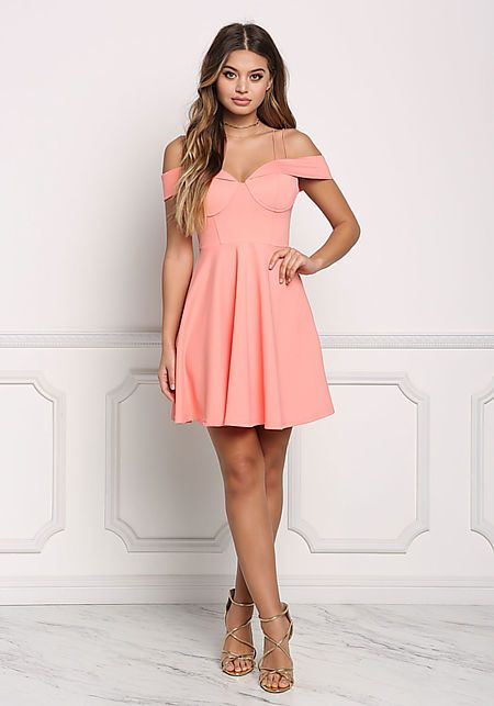 Coral Double Strap Cold Shoulder Flared Dress