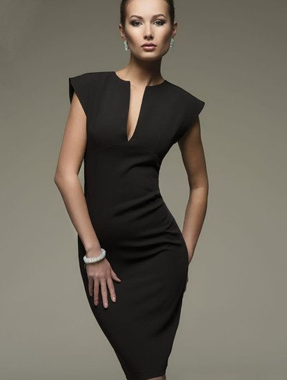 Черное классическое платье-футляр на короткий рукав, фото 1