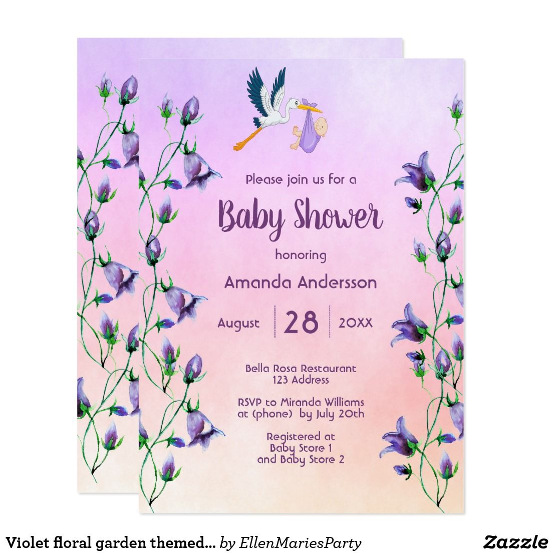 Baby Shower Invitation Letter Beauteous Violet Floral Garden Themed Baby Shower Invitation  Babies And Baby .