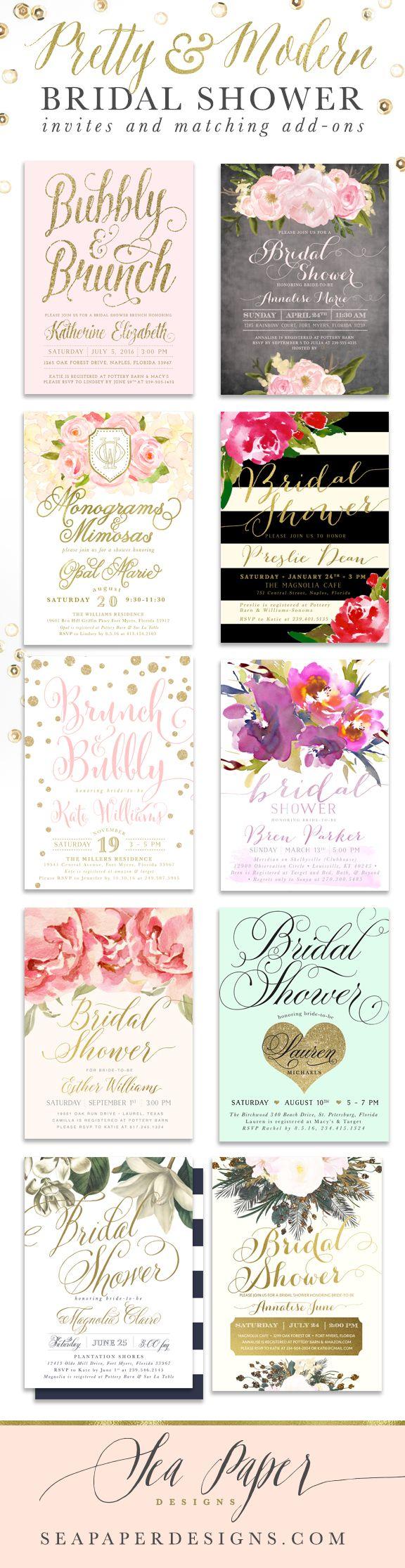 Pretty, Classy & Modern Bridal Shower Invitations ...