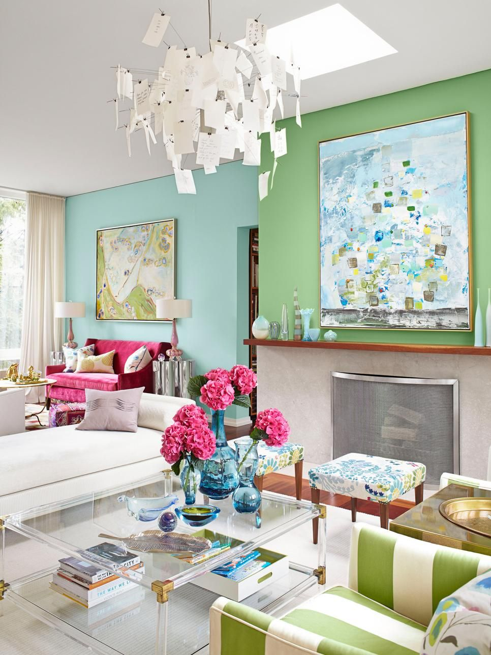 These 2 Shades Of Blue And Green Go Very Well Together The Paintings On Each Wall Play Off Other Perfectly Pink Pop Color