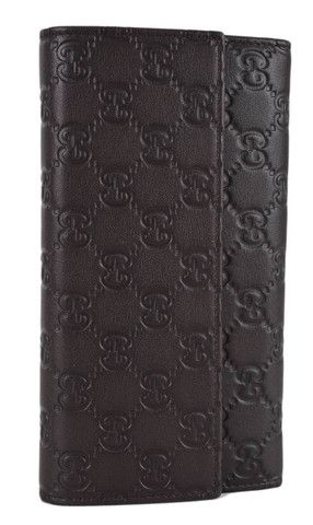 ef59d10da656 New Gucci 257303 Chocolate Brown Leather GG Guccissima Wallet W/Coin Pocket
