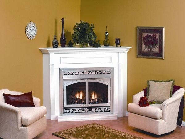 Empire EMBC1S Corner Wooden Mantel Cabinet with Base - For 32 ...