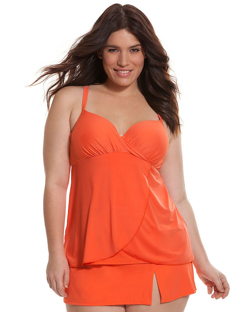 6ab59d4af Draped swim tank with built-in balconette bra by Cacique