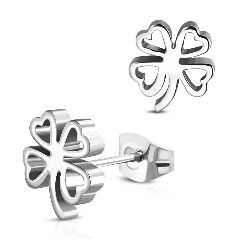 Stainless Steel Clover Post Dangle Earrings