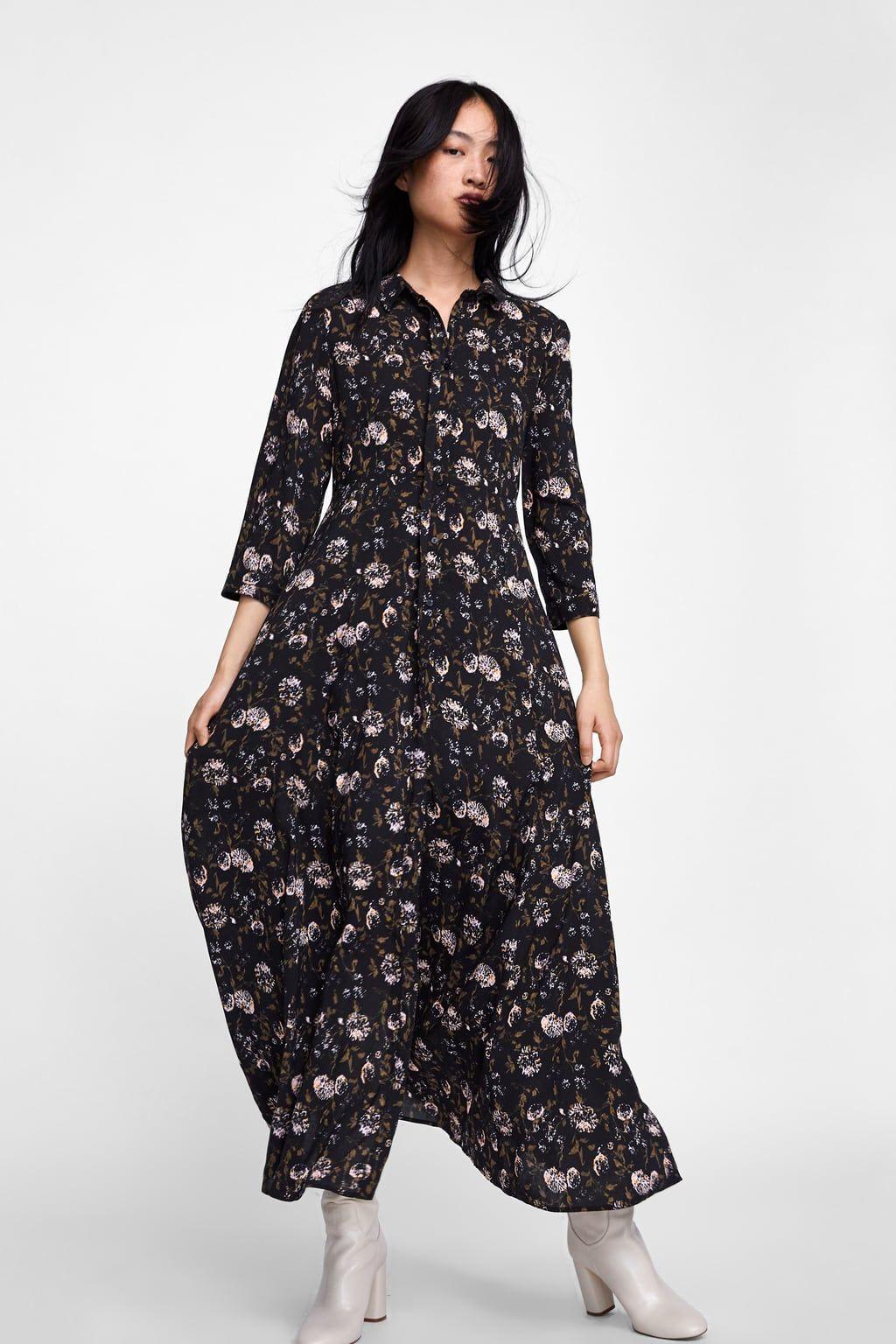 Image 5 Of Floral Print Shirt Dress From Zara Plate S Printom Platya S Cvetochnym Printom Plate S Ryushami
