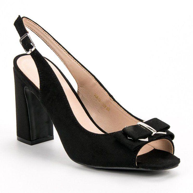 Vinceza Sandaly Na Slupku Czarne Plastic Heels Fashion Shoes Bow Heels