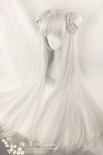 Cos Wig New Long Silver White Cosplay Straight Wigs Costume Double Buns Kawaii Hairstyles Cosplay Hair Kawaii Wigs
