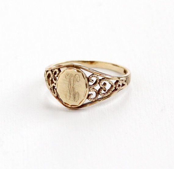 Vintage 10k Yellow Gold Filigree Signet Letter K Ring Size 8 Initial Monogrammed Signet Fine Personalized Estate Jewelry Estate Jewelry Jewelry Rings