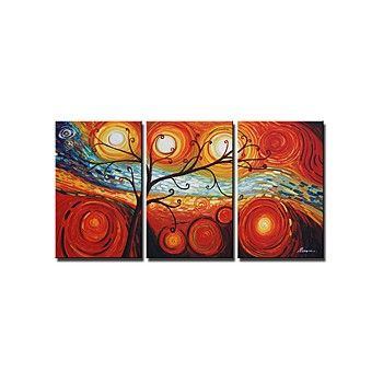 'Tree and Starry Night' Hand-painted 3-piece Canvas Art Set - OutletsArt.com