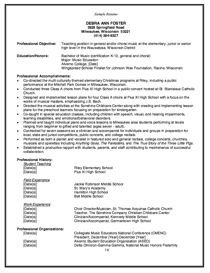 Elementary Music Teacher Resume Example resumesdesign – Music Resume