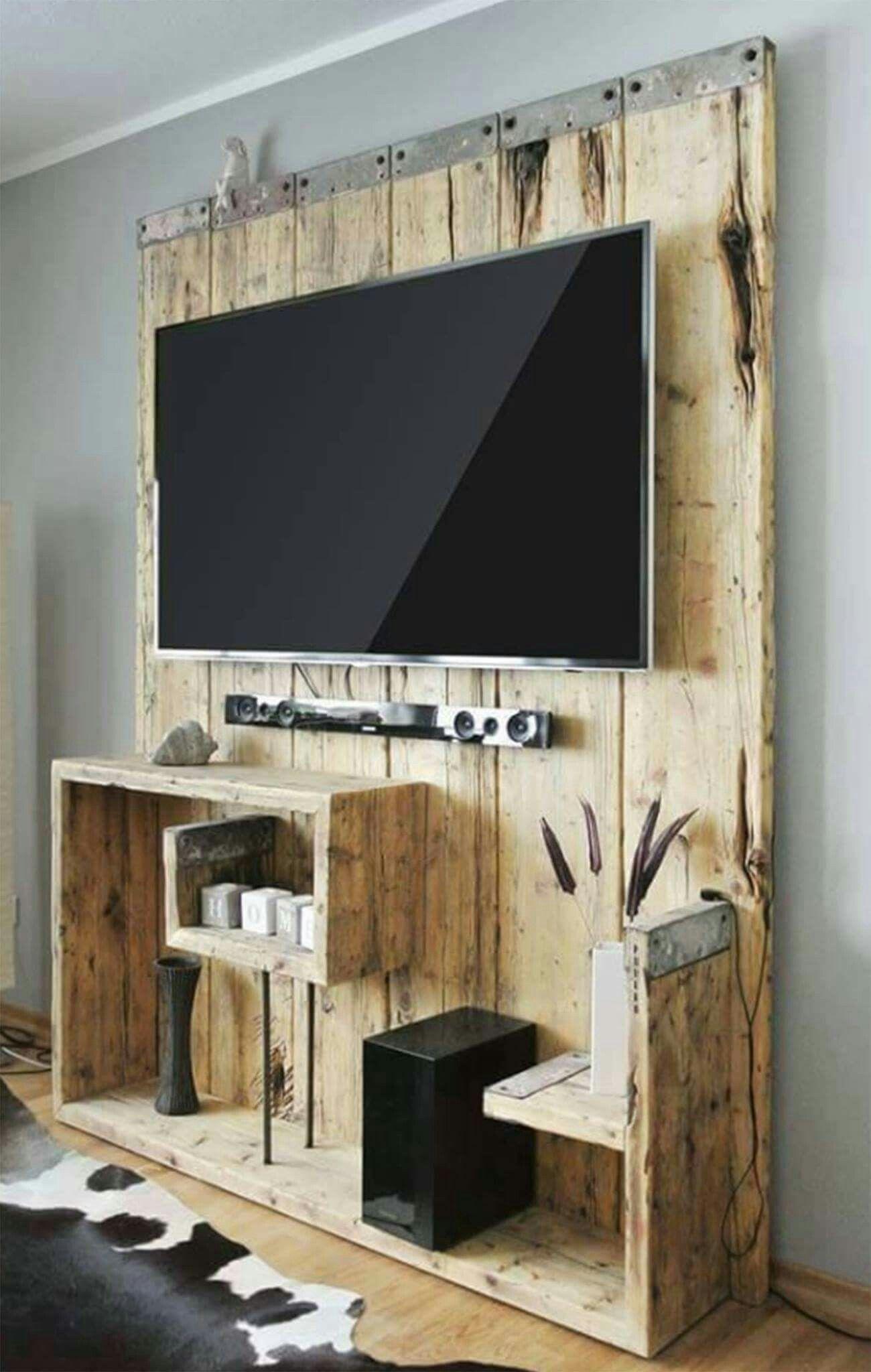 Pallet Wall Cladding Home Decoration Pinterest Meuble Tv  # Table Tv En Bois Palettes Pour Chambre