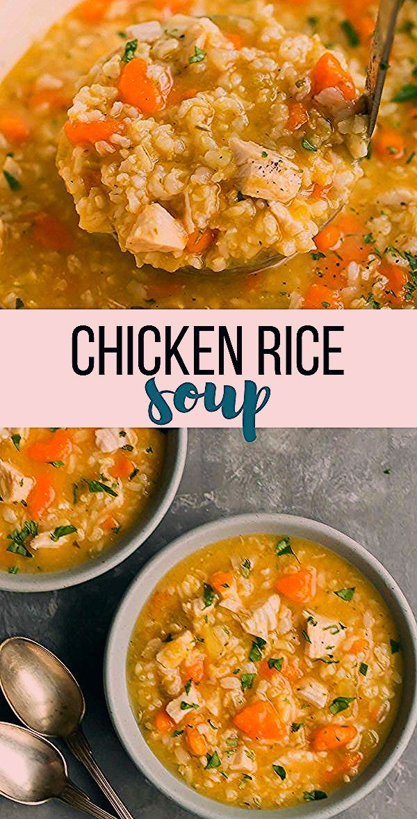 This Chicken Rice Soup is a hearty, healthy soup recipe that's perfect for fall! Loaded with vegetables, lean chicken and brown rice it can be made stove top, slow cooker or crockpot. An easy dinner recipe for chilly winter days! #soup #recipe #cooking #dinner #healthy #healthyrecipe #chicken