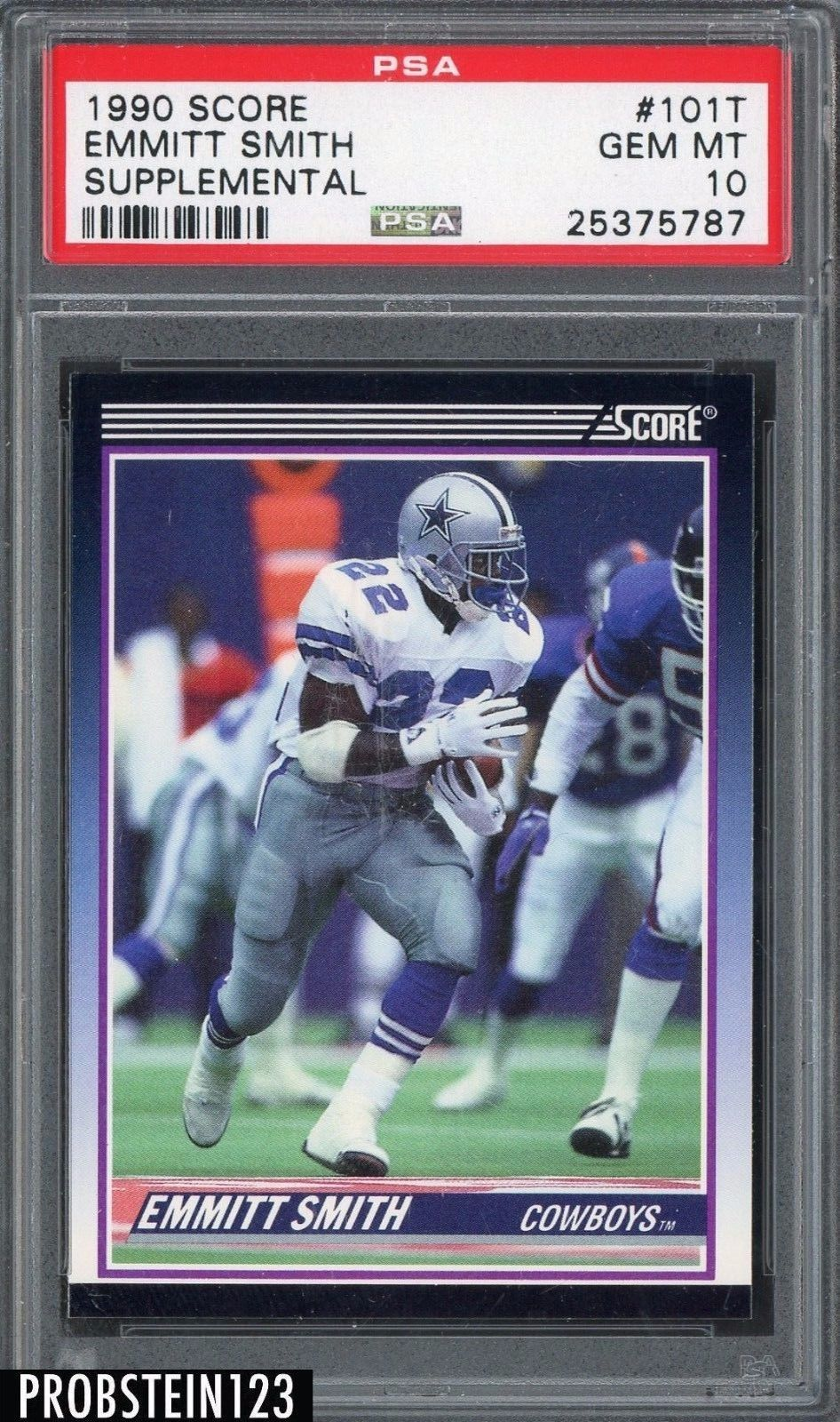 Sportsmemorbilia 1990 Score Supplemental 101t Emmitt Smith Cowboys Rc Rookie Hof Psa 10 Collectibles Football Cards Football Trading Cards Cowboys