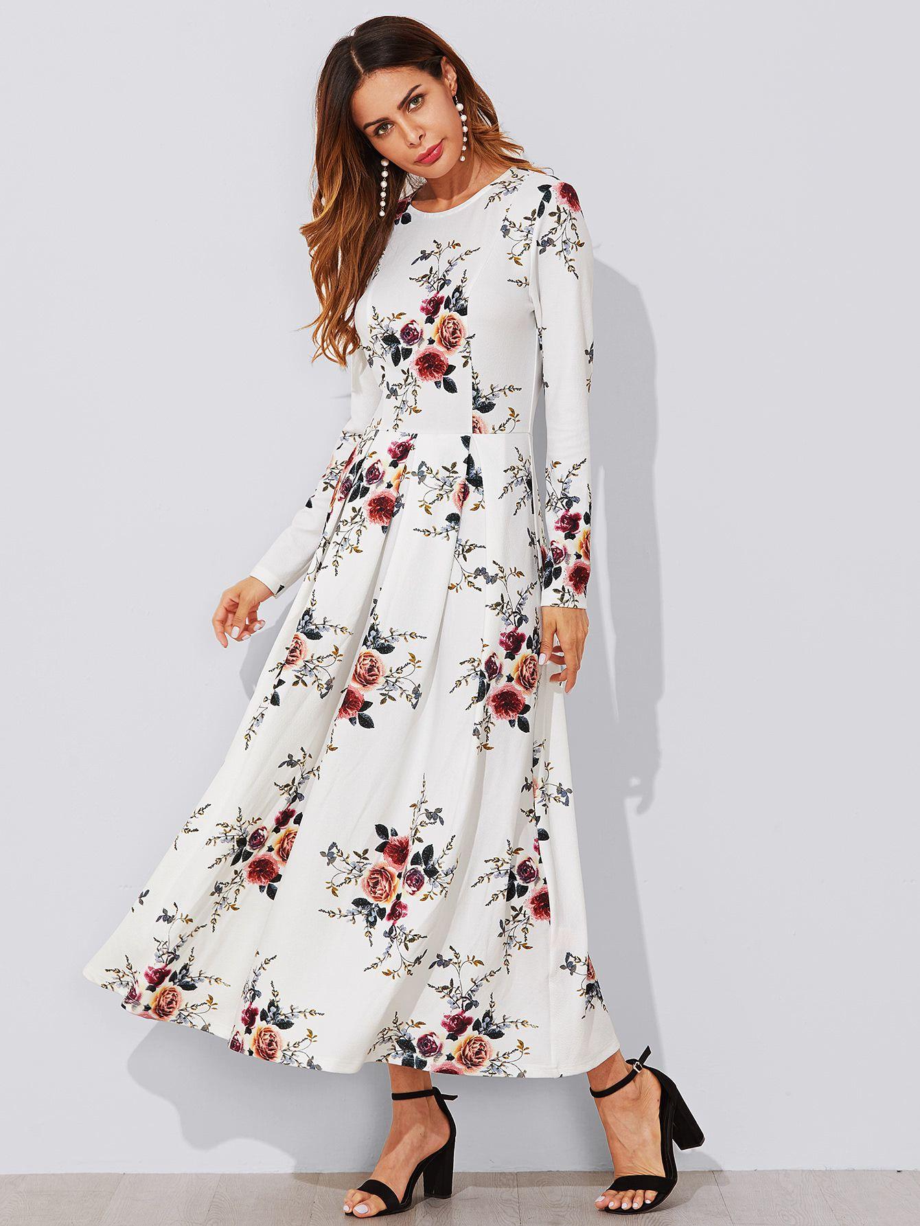 e45e415dd9 Flower Print Box Pleated Dress -SheIn(Sheinside) | Maxi dresses ...