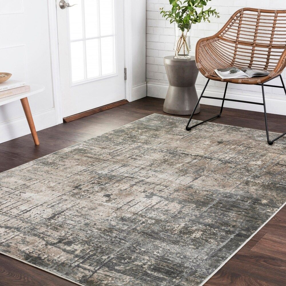 Vintage Glam Grey Moss Green Abstract Area Rug 12 X 15 Marine Grey 12 X 15 Gray Alexander Home In 2020 Area Rugs Rugs Alexander Home