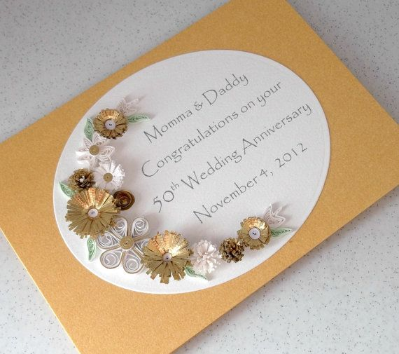 handmade greeting Quilled 50th golden wedding anniversary card