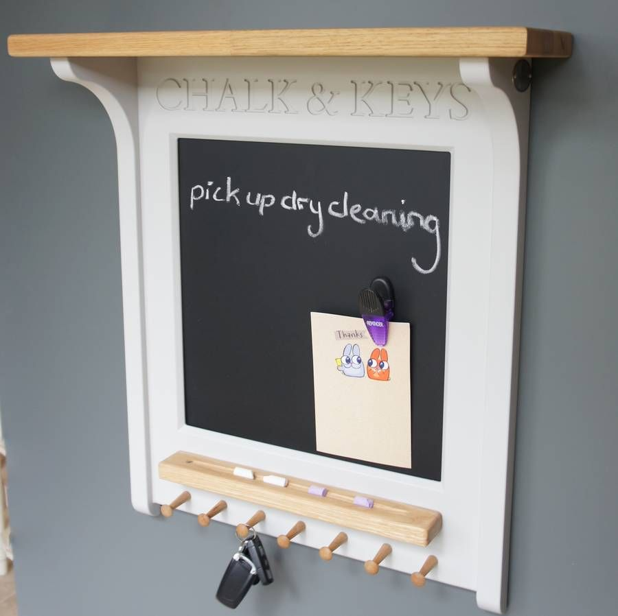 Chalk Board And Magnetic Noticeboard With Key Rack Key Rack Magnetic Chalkboard And Board