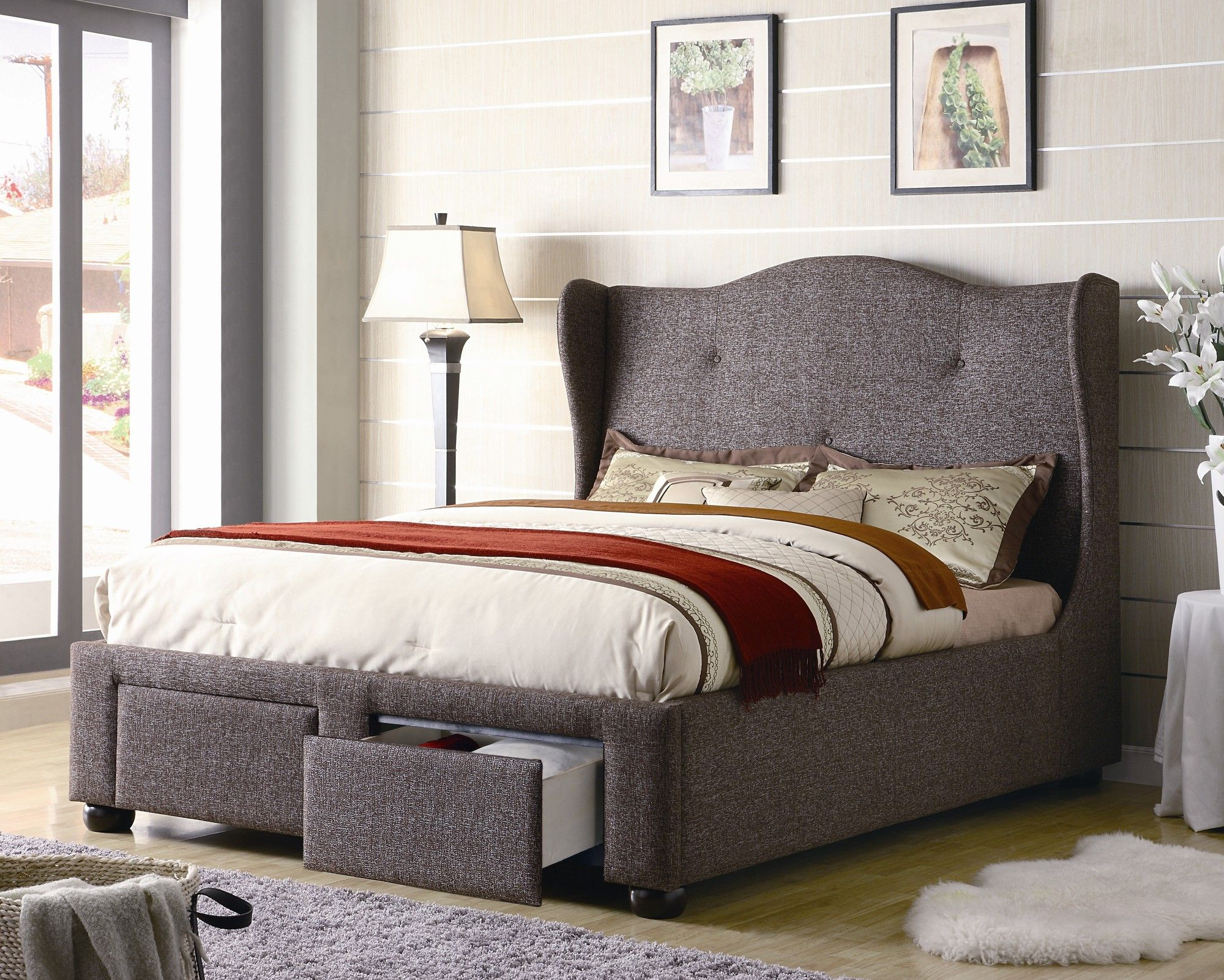 Wildon Home ® Buxton Tweed Wing Bed in Brown Queen