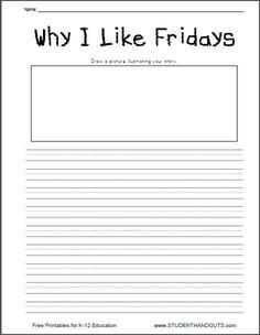 Why I Like Fridays Writing Prompt - Free Printable Worksheets for ...
