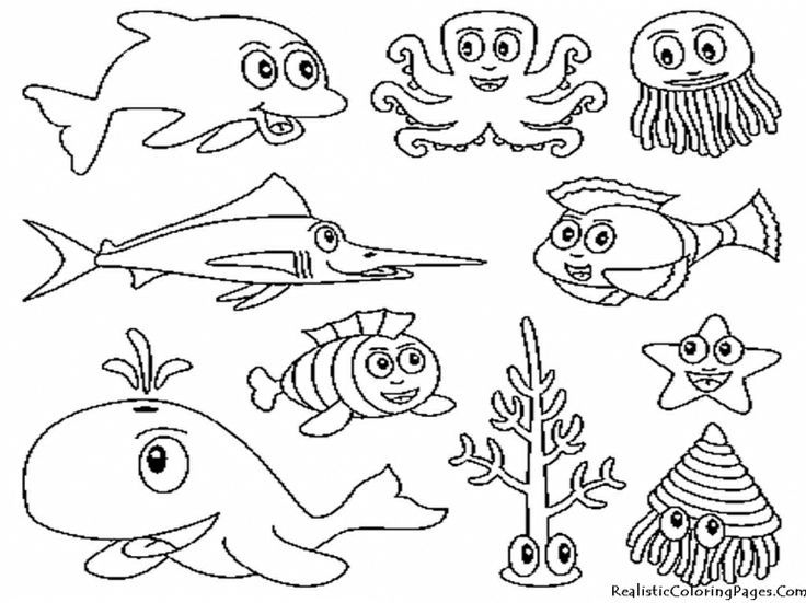 cartoon images sea creatures | Sea Creatures Coloring Pages ...