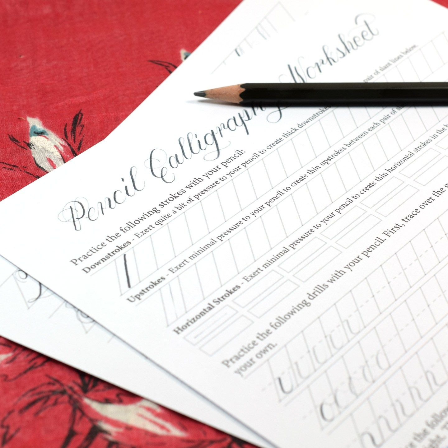 Printable Pencil Calligraphy Worksheet Mit Bildern