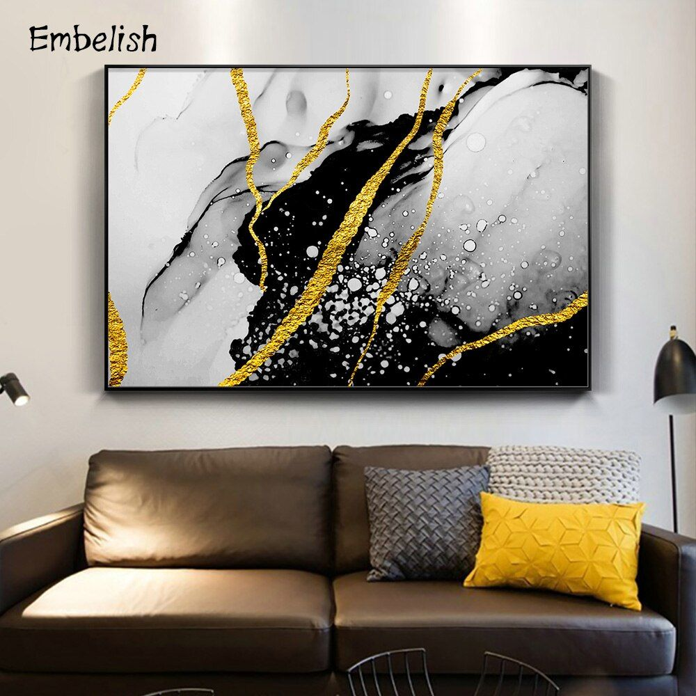 1 Pieces Nordic Style Golden Paints Modern Home Decor Wall Posters For Living Room Hd Print On Canvas Oil Paintings Pictures In 2020 Golden Painting Oil Painting Pictures Canvas Decor #wall #posters #for #living #room