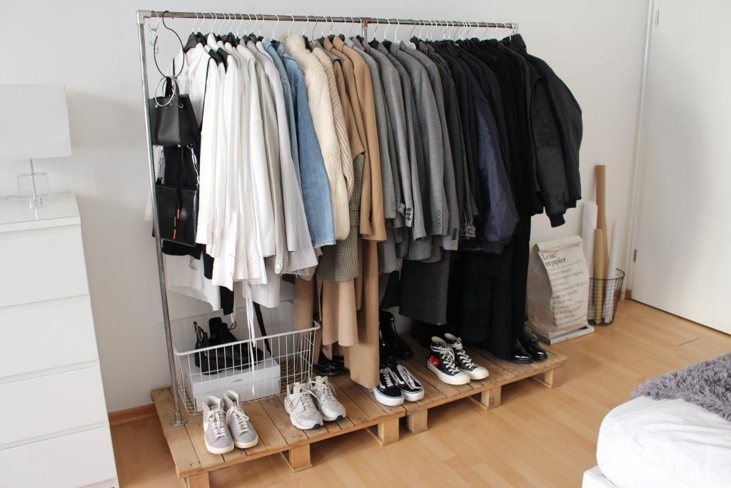 Aufbewahrung Kleidung diy kleiderstange mit mehr platz für schuhe diy kleiderstange